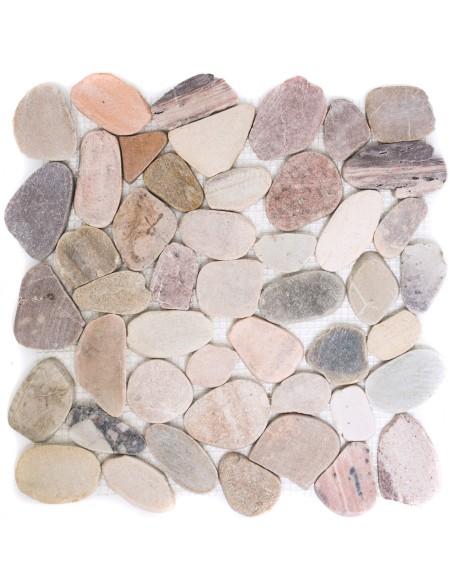 Flodsten Mosaik Sågad Natursten Beige Grå Röd Mix