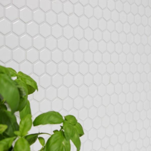 Hexagon Mosaik Vit Blank 23x26mm
