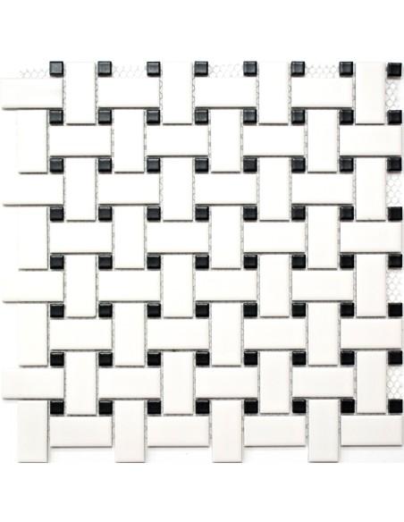 Basket Klinker Mosaik Svart Vit Matt