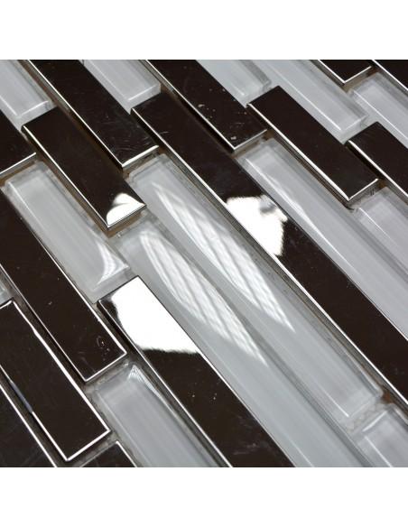 Stavmosaik Kristall Rostfrittstål Vit Mix