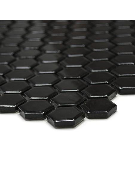 Hexagon Klinker Mosaik Svart Blank 23x26mm
