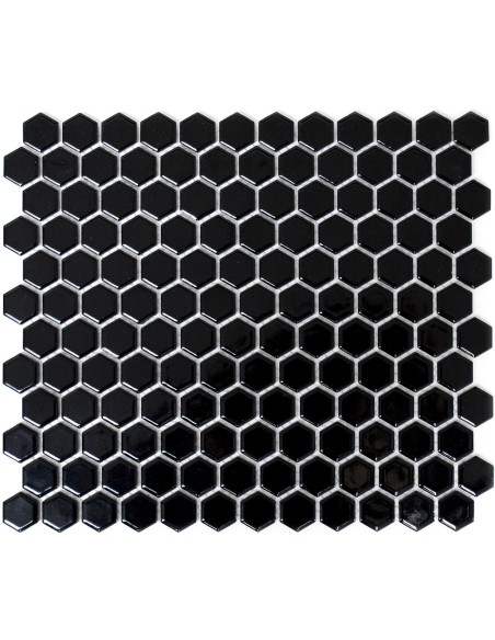 Hexagon Klinker Mosaik Svart Blank 23x26mm