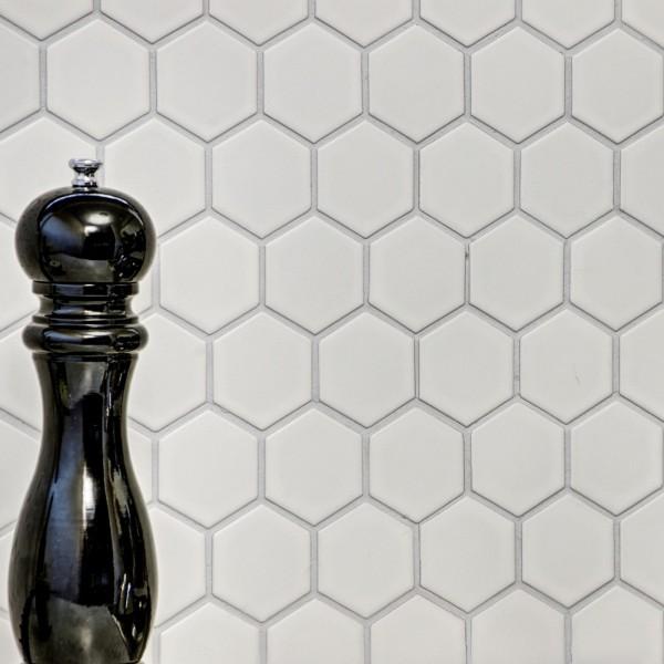 Klinker Mosaik Hexagon Vit Blank