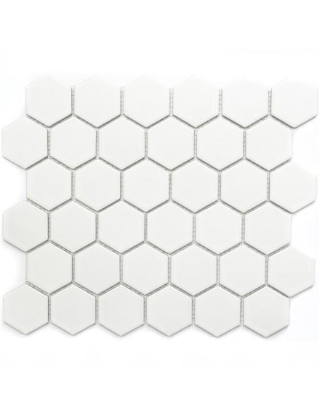 Klinker Mosaik Hexagon Vit Matt