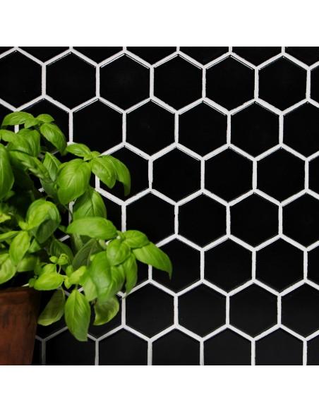 Klinker Mosaik Hexagon Svart Blank