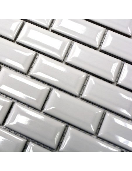 Brickmosaik Murförband Diamant Vit