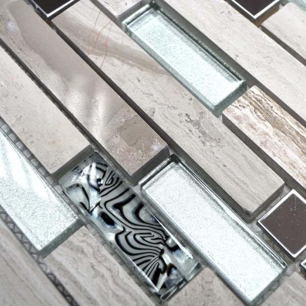 Stavmosaik Marmor Kristall Rostfrittstål White Wood | Ekosten.se