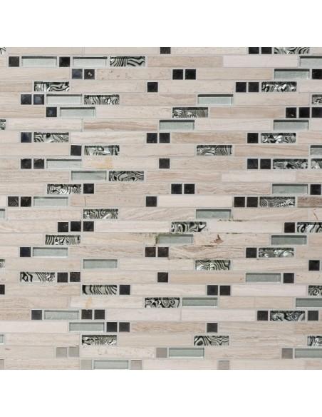 Stavmosaik Marmor Kristall Rostfrittstål White Wood