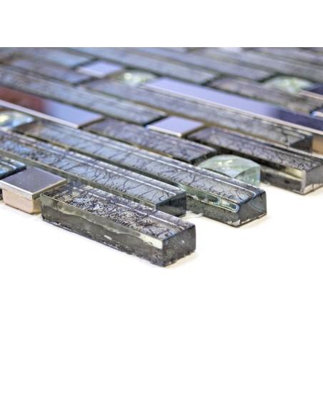 Diamant Struktur Stavmosaik Silver Svart Mix