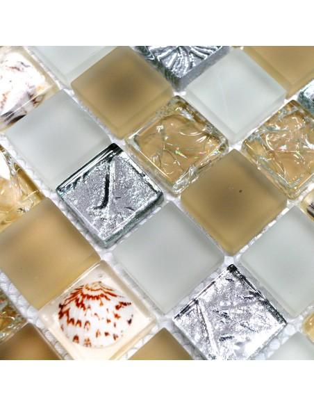 Kristallmosaik Mussla Beige Freeze Mix