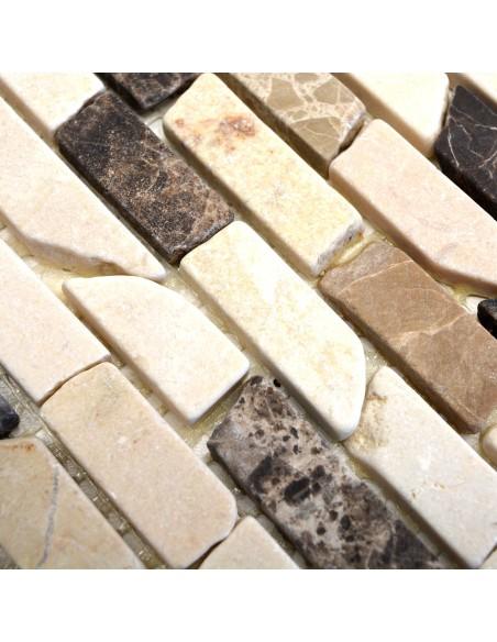 Stavmosaik Natursten Marmor Castanao Biancone
