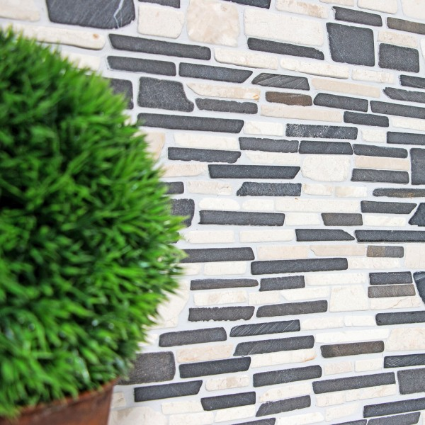 Brickmosaik Natursten Marmor Biancone Java | Ekosten.se