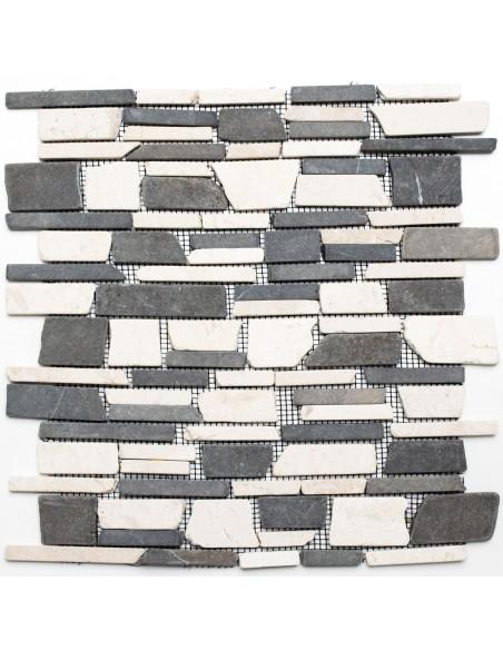 Brickmosaik Natursten Marmor Biancone Java