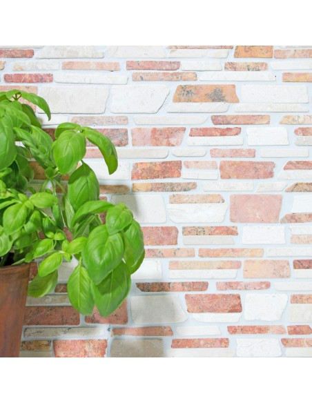 Brickmosaik Natursten Marmor Biancone Rosso | Ekosten.se
