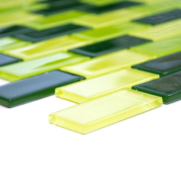 Murförband Brickmosaik Glas Grönmix 25x50x4mm