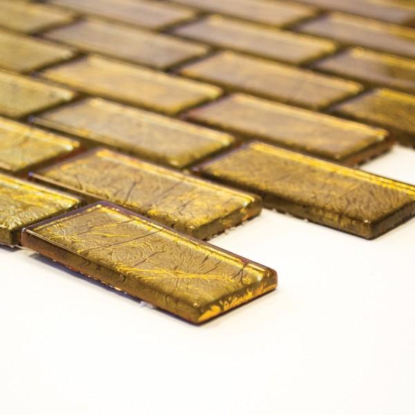 Guld Kristall Brickmosaik Murförband 23x48x4mm