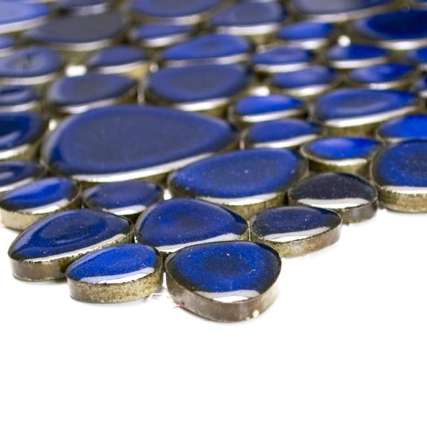 Oregelbunden Keramik Mosaik Blå