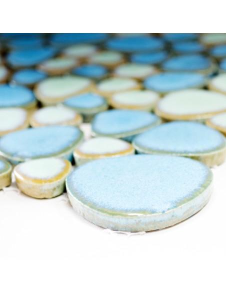 Oregelbunden Keramik Mosaik Blå Grön