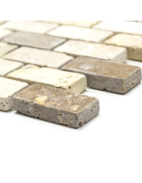 Murförband Travertin Brickmosaik Mix   Ekosten.se