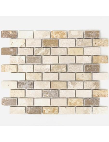 Murförband Travertin Brickmosaik Mix
