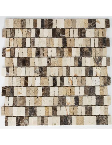 Marmor Brickmosaik Beige Creme Mix