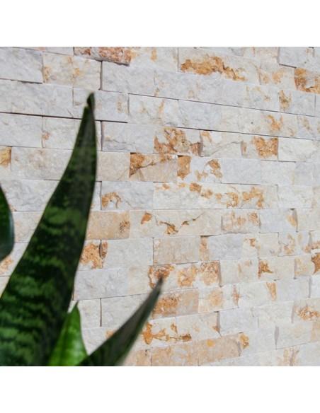 Splitface Marmormosaik Ljusbeige 3D 25x50mm