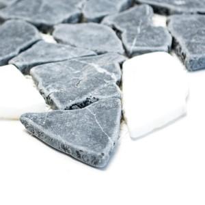 Marmor Krossmosaik Nero Botticino Mix