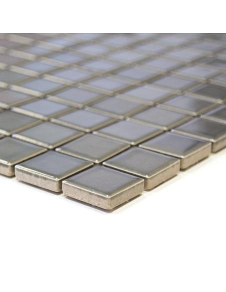 Metallgrå Keramikmosaik Blank 23x23mm