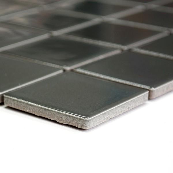 Metallgrå Keramikmosaik Blank 48x48mm