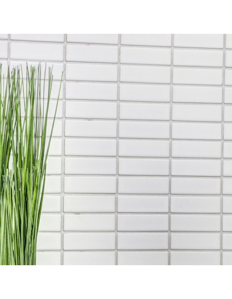 Brickmosaik Vit Blank 23x48x6mm