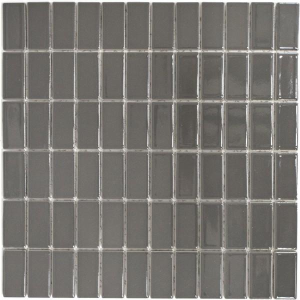 Brickmosaik Metallgrå Blank 23x48x6mm