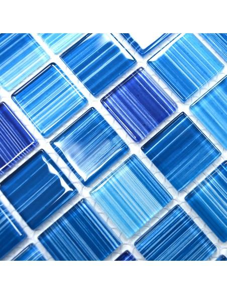 Mosaik Plattor Kristall Streck Blå
