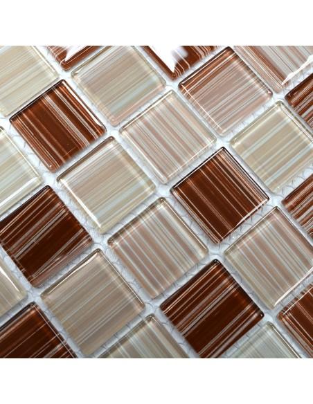 Mosaik Plattor Kristall Streck Beige
