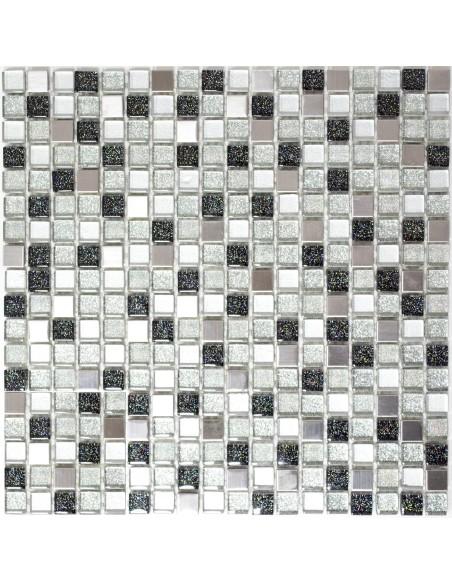Struktur Rostfrittstål Glasmosaik Silver Svart Mix