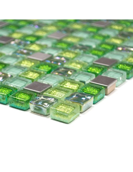 Struktur Rostfrittstål Glasmosaik Silver Grön Mix