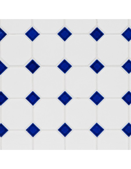 Oktagon Klinker Mosaik Vit Blå