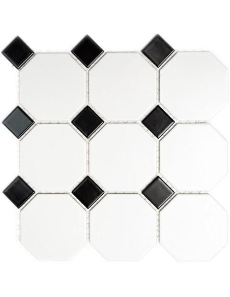 Oktagon Klinker Mosaik Vit Svart