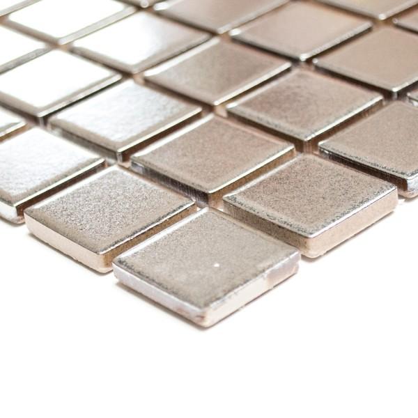 Silver Keramik Mosaik Metall Optik