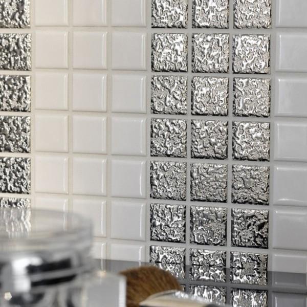 Silver Keramikmosaik Struktur Regndroppe