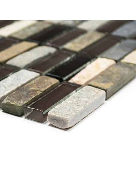 Brickmosaik Kristall Skiffer Mix