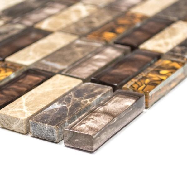 Brickmosaik Kristall Natursten Brun Mix