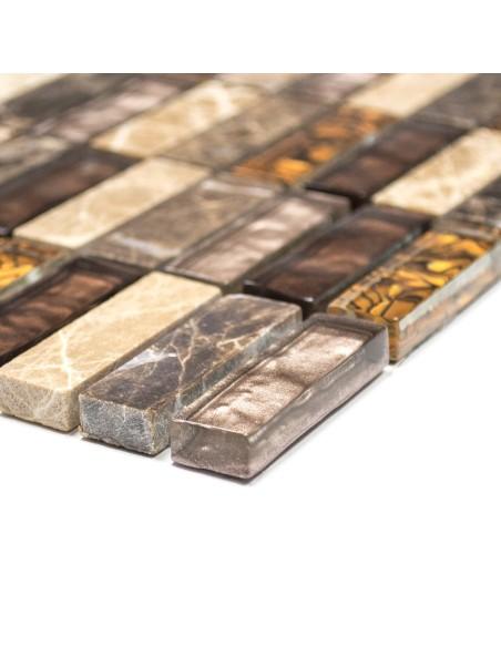 Brickmosaik Kristall Natursten Brun Mix | Ekosten.se