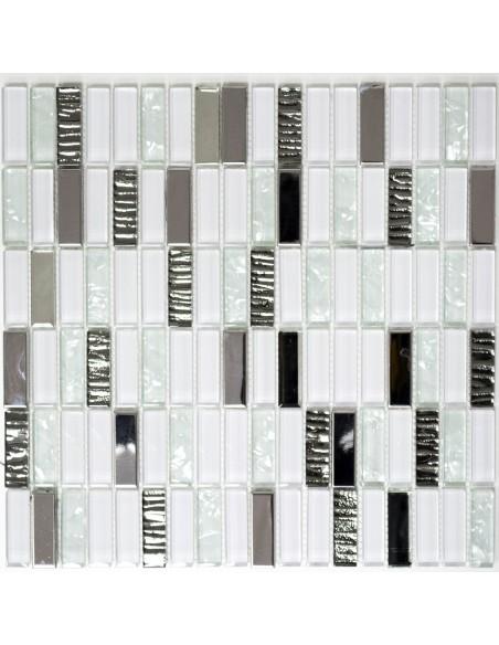 Brickmosaik Kristall Rostfrittstål Mix Vit