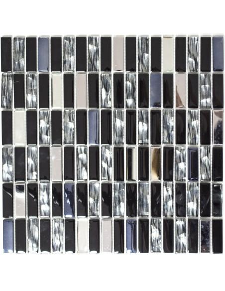 Brickmosaik Kristall Rostfrittstål Mix Svart