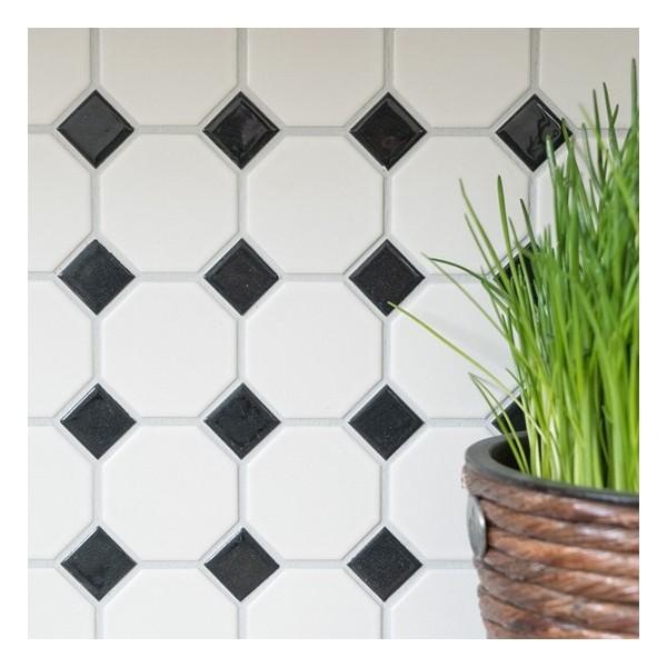 Oktagon Keramik Mosaik Vit Svart Mix