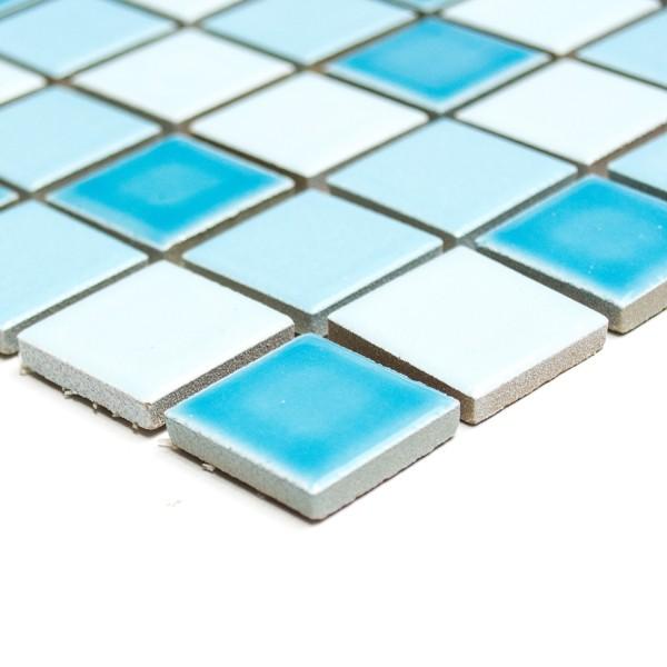 Klinkermosaik Blå Mix Blank