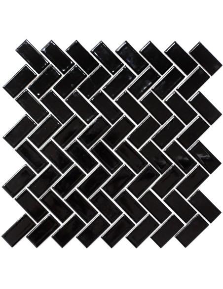 Fiskben Keramik Mosaik Svart Blank
