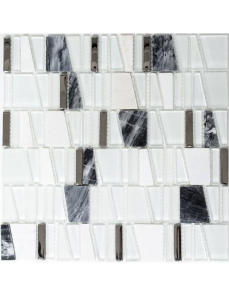 Vit Kristall Marmor Mosaik Stege