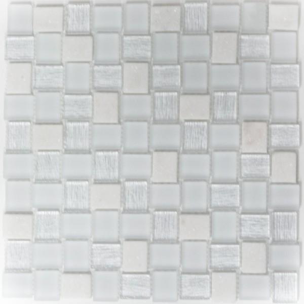 Rustik Kristall Natursten Mosaik Vit Mix