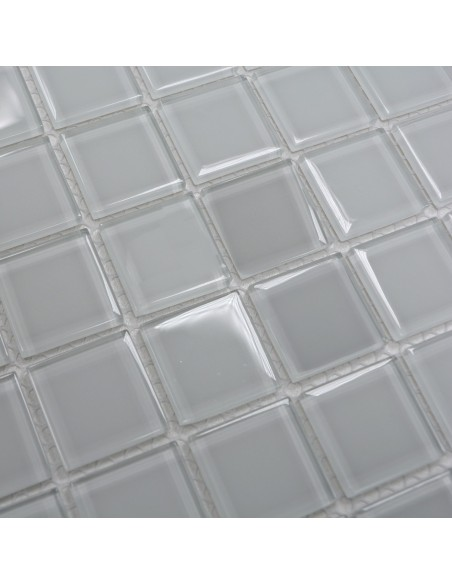 Kristall Glasmosaik Plattor Vit